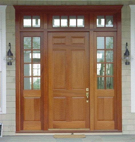 6 Panel Wood Entry Door With Sidelights And Transoms Exterior Wood Doors With Sidelights
