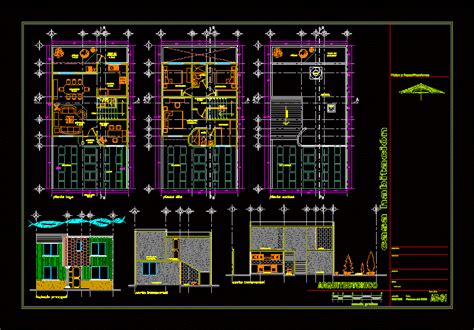 Classic Home Floor Plans Two Story House With Garden 2d Dwg Plan For Autocad