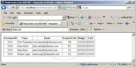 tutorial asp net oracle c asp net repeater control oracle database system