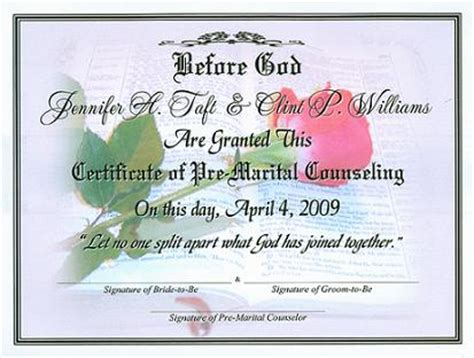 Premarital Counseling Certificate Of Completion Template in god s word pre marital counseling certificate