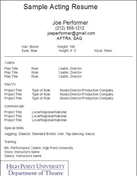 resume acting template 25 unique acting resume template ideas on