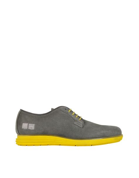 rubber sole oxford shoes d acquasparta gray suede oxford w yellow rubber sole in