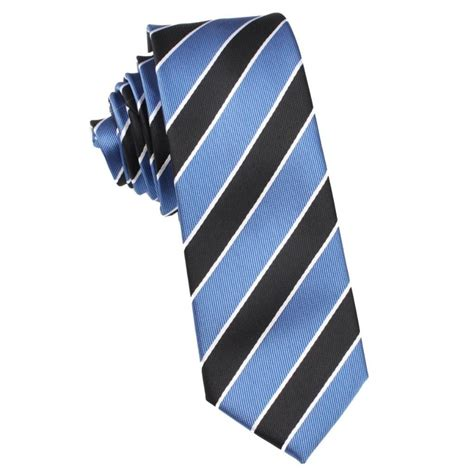 black white blue striped tie thin narrow ties otaa
