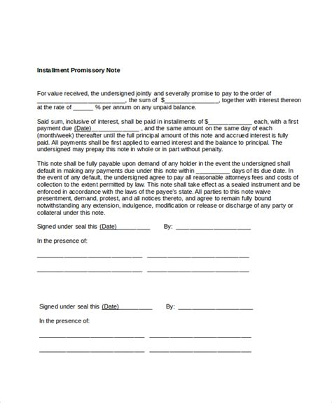 Installment Promissory Note Template Free promissory note template 17 free word pdf documents
