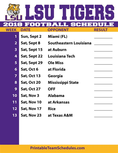 Lsus Mba Program Class Schedule 2017 by 2018 Printable Lsu Football Schedule