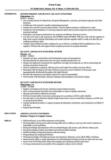 quality assurance engineer senior resume sles velvet