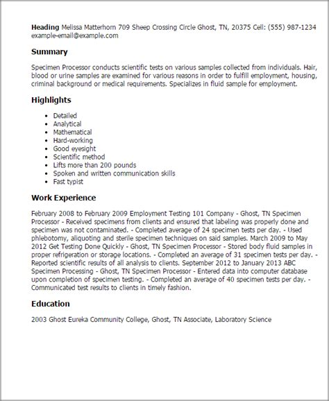 Specimen Of Resume by Professional Specimen Processor Templates To Showcase Your