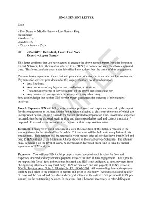 Aon Insurance Engagement Letters Engagement Letter Sle Forms And Templates Fillable Printable Sles For Pdf Word