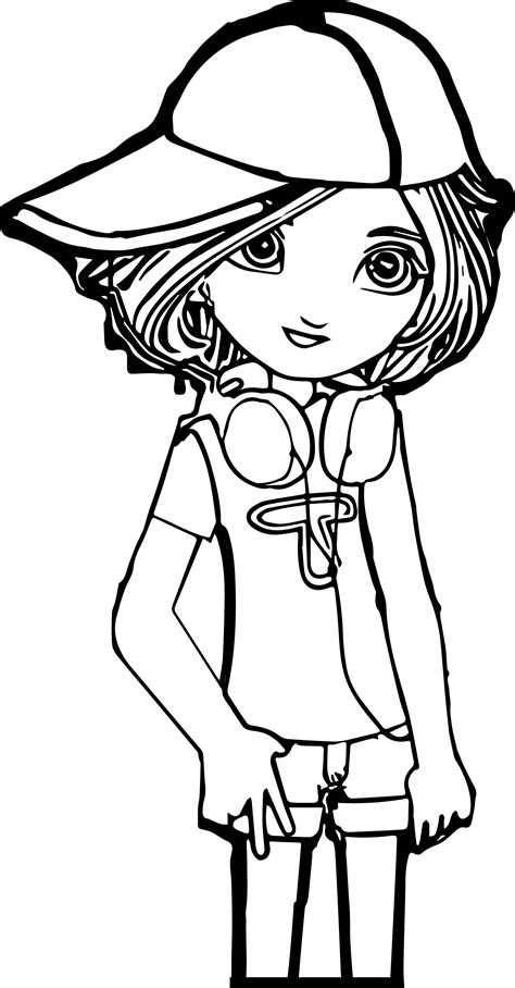 simple donna cartoon girl coloring page with cartoon girl