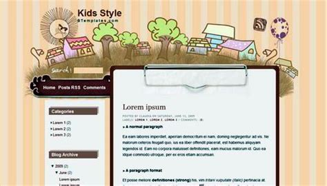 lunarpages templates cute blogger template kid style dobeweb