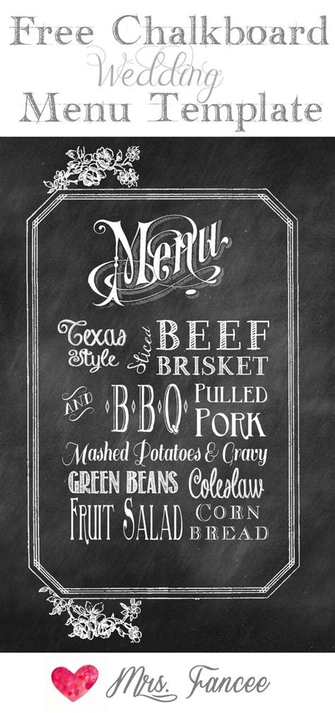 chalkboard wedding menu free template gardens potato