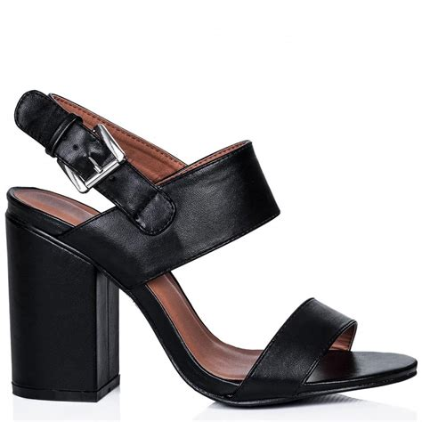 heel sandal buy bonzai block heel peep toe sandal shoes black leather
