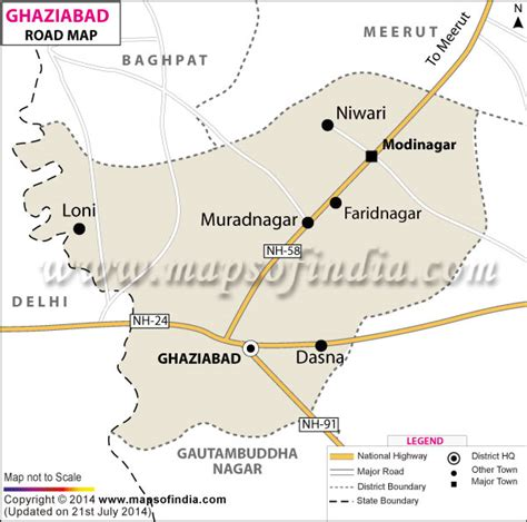 ghaziabad in india map road map of ghaziabad