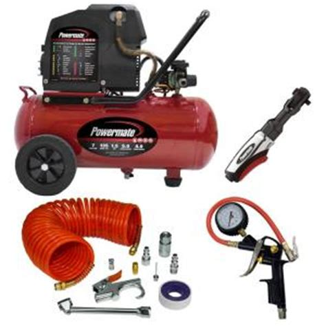 powermate 7 gal horizontal portable air compressor with