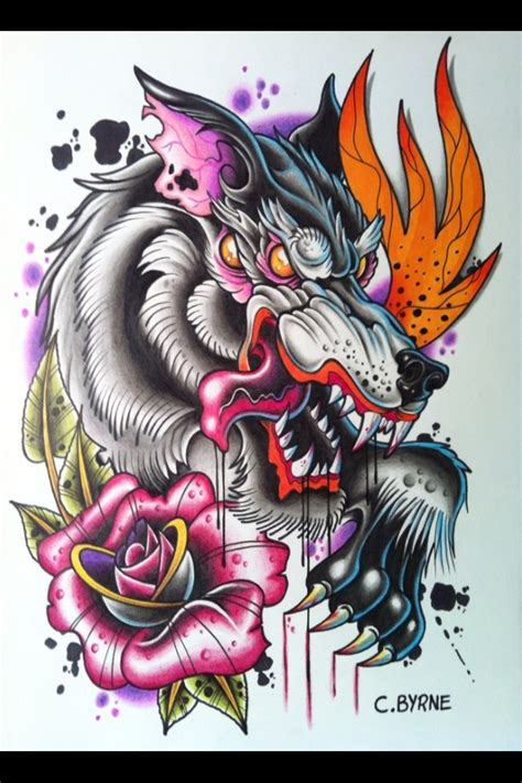 New School Wolf Tattoo Design | 17 best images about newschool draw on pinterest behance