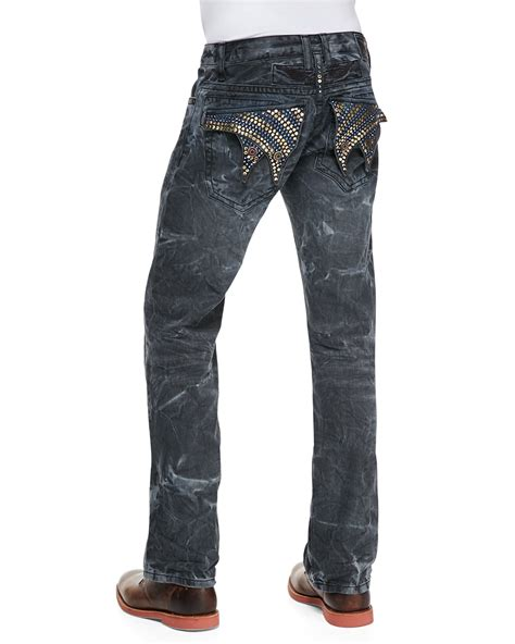 Denim Jn lyst robin s jean orlando wash navy marble denim in blue for