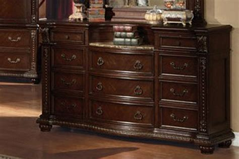 anondale cherry finish marble top dresser lowest price