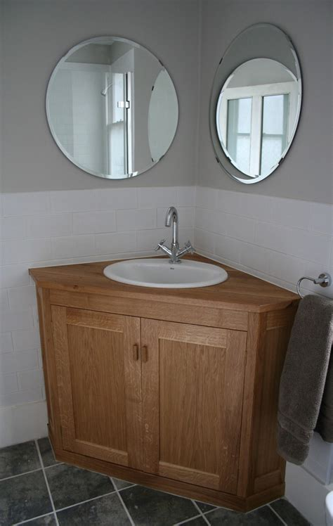 rounded corner bathroom vanity corner oak wooden vanity furniture with modern white round sink complete with the