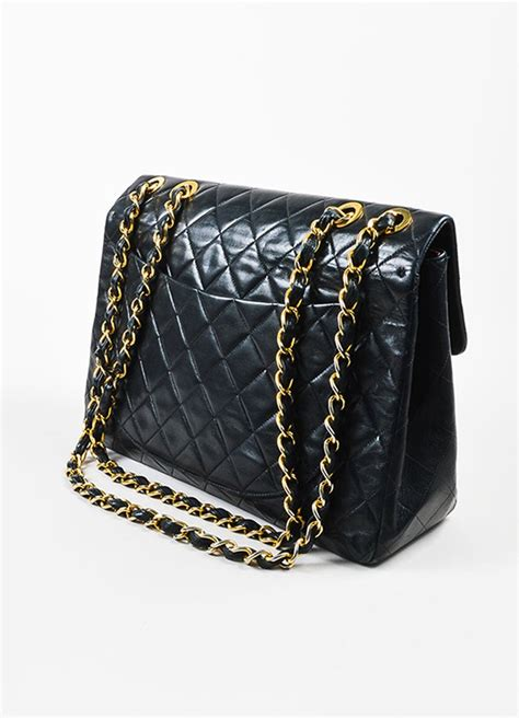 chanel chanel black quilted lambskin leather gold chain