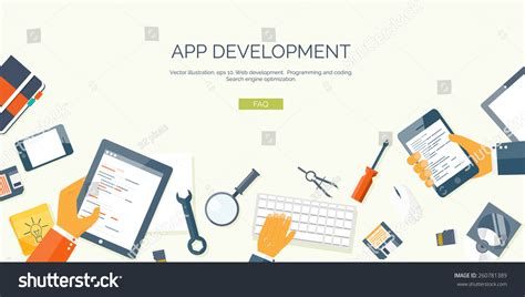 app design online courses vector illustration flat header programming and coding