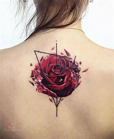 rose tattoo on upper back graphic on the back nature