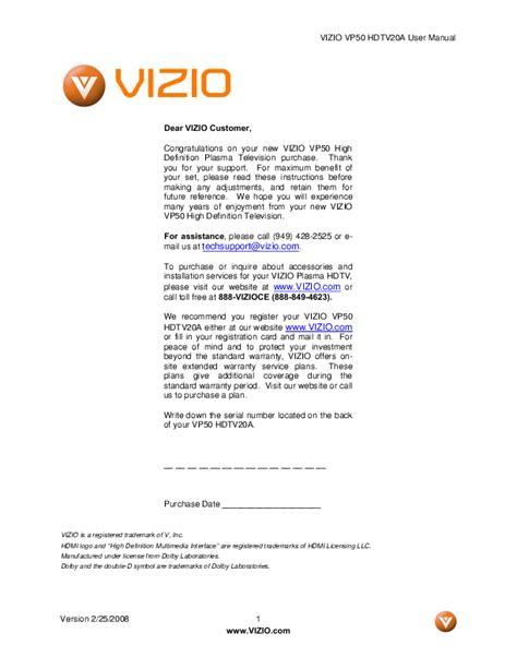 visio tv manual vizio high definition plasma television user manual