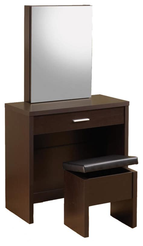 modern bedroom vanities coaster furniture glossy make up table vanity set storage mirror lift top stool