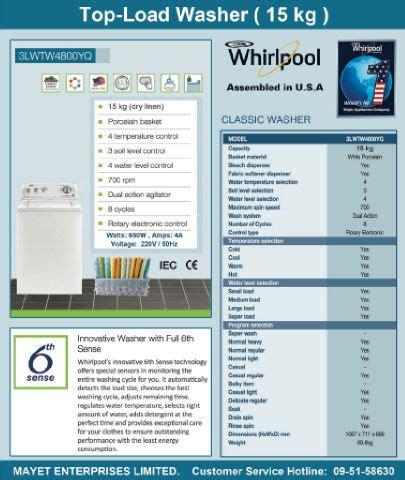 Mesin Cuci Classic mesin cuci whirlpool 3lwtw4800yq