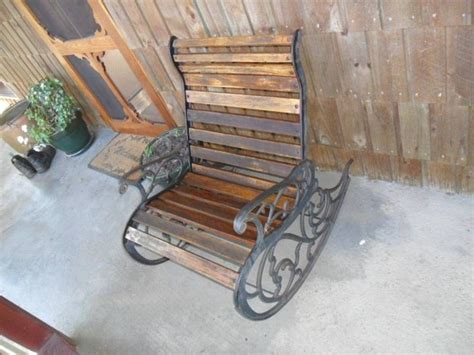 iron rocking bench cast iron outdoor rocking chair home sweet home