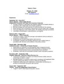 Catastrophic Claims Adjuster Sle Resume by Claims Adjuster Resume Sle Http Resumesdesign Claims Adjuster Resume Sle Work