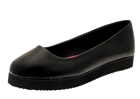 black plain slip on faux leather school womens