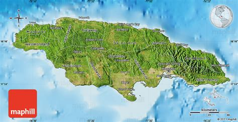 jamaica satellite map satellite map of jamaica shaded relief outside