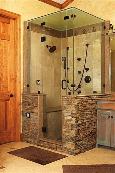 Rock Shower by Shower With Work Bathroom This