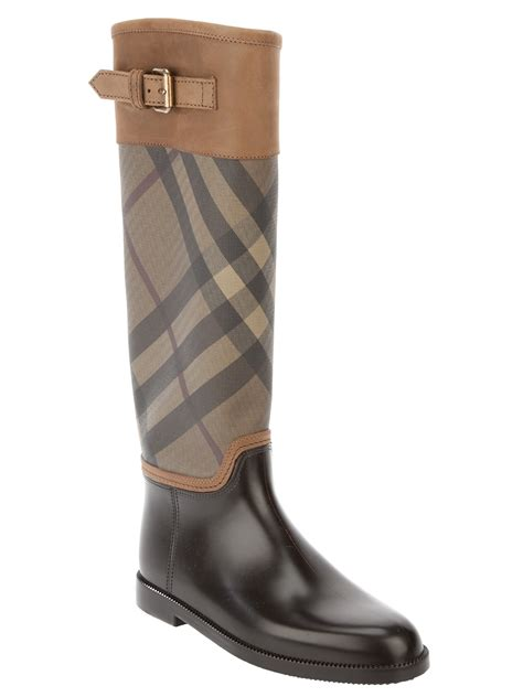 burberry brit knee high boot in brown lyst