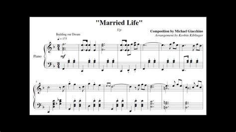 film up song disney s up quot married life quot solo piano sheet music