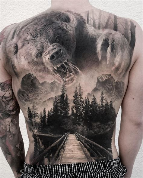 full back tattoo design lake back best design ideas
