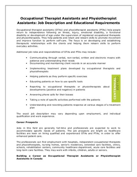 occupational therapist description occupational therapist assistants and physiotherapist