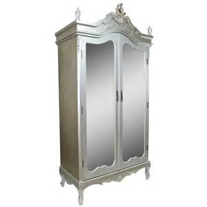 Mirrored Door Armoire Antique Silver Mirrored Door Armoire