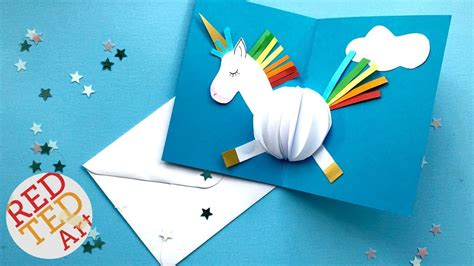 unicorn pop up card template pop up unicorn diy card easy card ideas