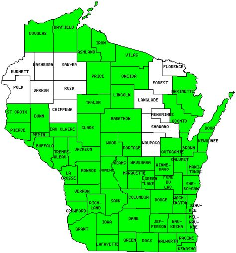 wisconsin counties map map of wi counties my
