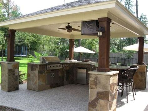 covered outdoor kitchen plans bbq island outdoor kitchens and outdoor on pinterest