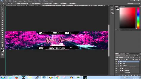 2016 Spring Youtube Banner Template Gamig Vlog Psd Youtube 2k17 Banner Template