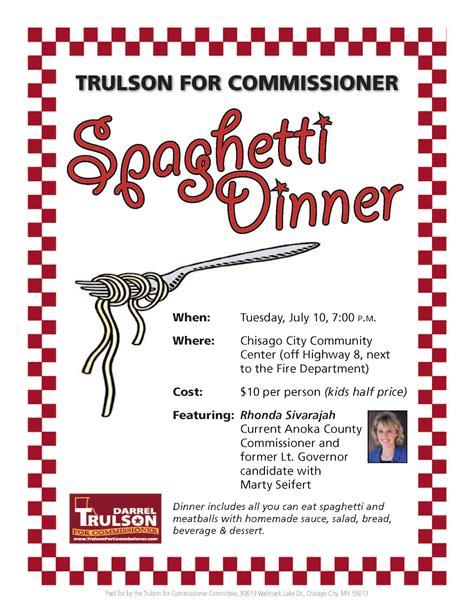 Trulson For Commissioner Spaghetti Dinner Fundraiser Flyer Template