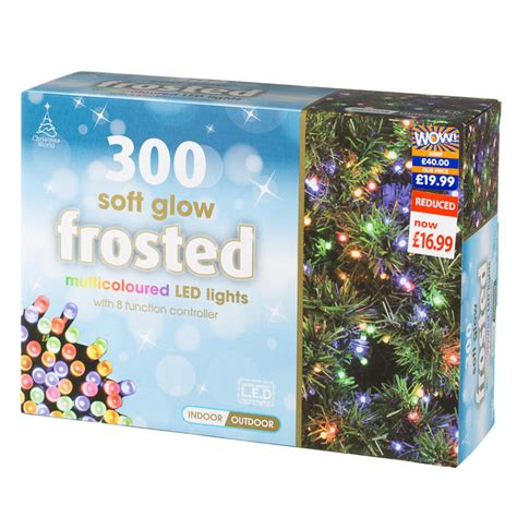 300 soft glow frosted christmas lights multi