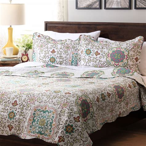 moroccan coverlet 5 pc teal blue turquoise paisley queen quilt coverlet