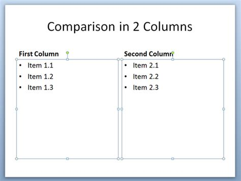 layout template difference 2 columns slide layout in powerpoint 2010
