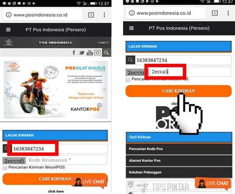 cek resi pos indonesia menggunakan smartphone