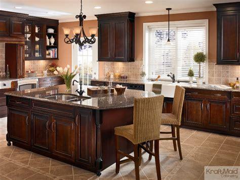 kraft maid kitchen cabinets natural cherry wood kitchen kraftmaid cherry cabinetry in ginger with sable glaze