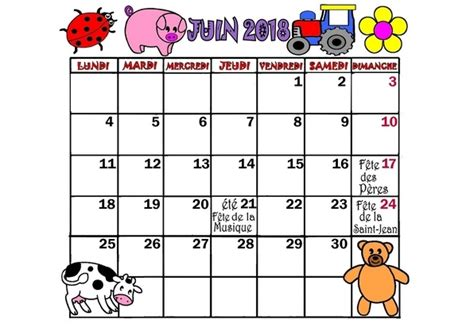 Calendrier Juin 2018 Calendrier 2017