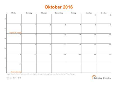 Oktober Kalender 2015 Oktober 2016 Kalender Mit Feiertagen
